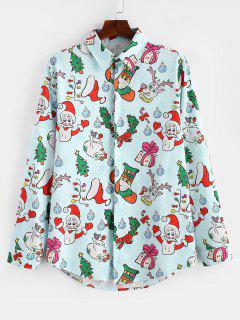 Santa Candy Gift Print Long Sleeves Christmas Shirt - Light Blue 2xl