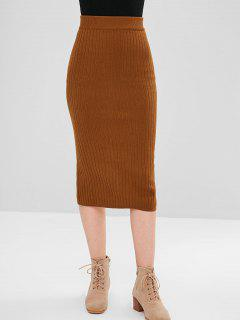 Slit Knit Skirt - Brown