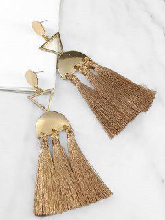 Layered Ethnic Tassel Metal Earrings - Camel Brown
