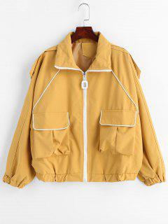 Contrasting Binding Oversized Jacket - Mustard