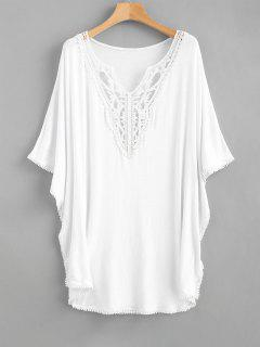 Lace Panels Kaftan Top - White