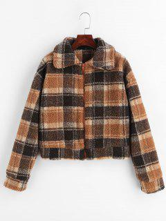 Fluffy Faux Fur Short Plaid Coat - Multi M