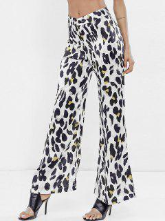 High Waist Leopard Wide Leg Pants - White S