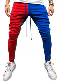 Color Block Pockets Drawstring Slim Fit Track Pants - Red Wine L