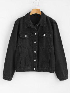 Front Pockets Jean Jacket - Black L