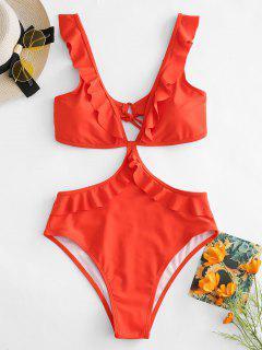 ZAFUL Ruffle High Waisted Backless Swimsuit - Bright Orange L
