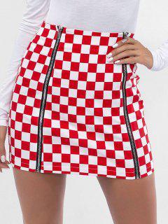 Zippers Mini Checkered Skirt - Red S