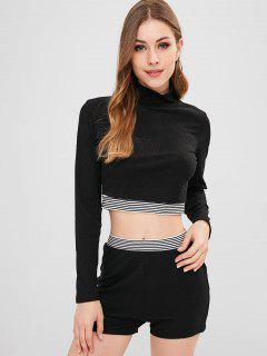 ZAFUL Ribbed Stripes Top And Shorts Set - Black L