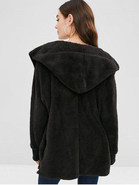 womens Solid Color Hooded Fluffy Teddy Coat - BLACK S Mobile