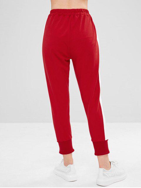 ZAFUL Drawstring Color Block Slit Pants - Rojo Lava L Mobile