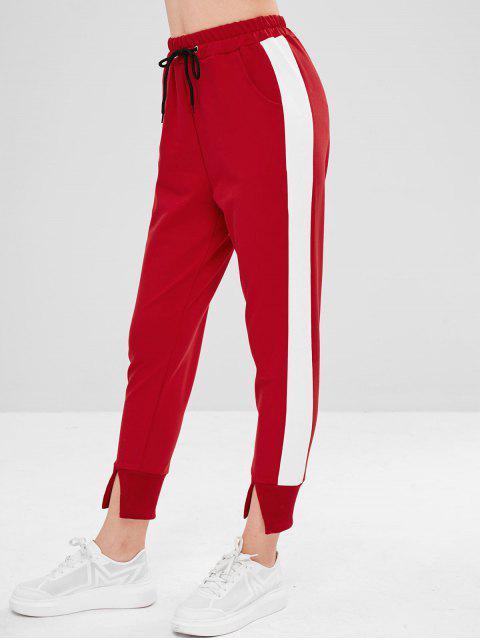 ZAFUL Drawstring Color Block Slit Pants - Rojo Lava M Mobile
