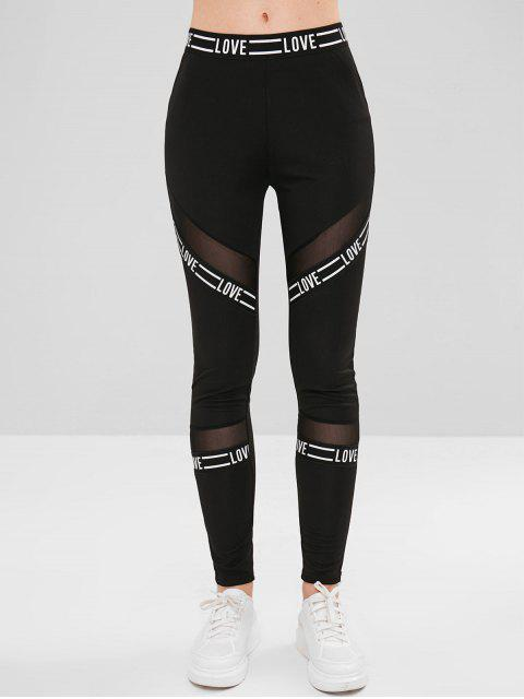 buy Graphic Mesh Paneled Tights Leggings - BLACK XL Mobile
