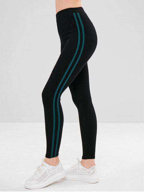 latest Stripe Trim Elastic Thick Leggings - GREEN ONE SIZE Mobile