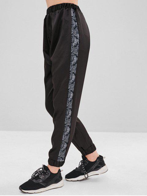 Pantalones de chándal con inserción de piel de serpiente - Negro M Mobile