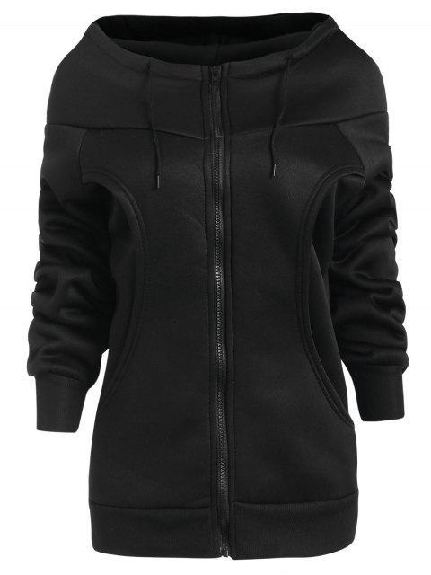Forro polar con capucha abrigo de cremallera - Negro M Mobile