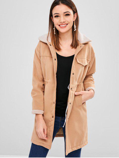 Abrigo de invierno de cuello Borg de lana sintética - Camel Marrón M Mobile