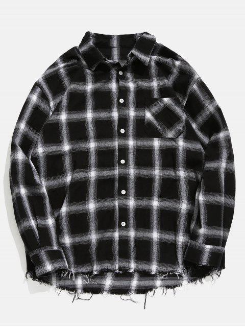 Camisa a cuadros de dobladillo deshilachado - Gris Ceniza L Mobile