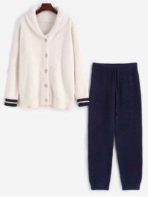 Streifen gestrickte Knöpfe Strickjacke Fuzzy Pyjamas Set - Weiß Eine Größe Mobile