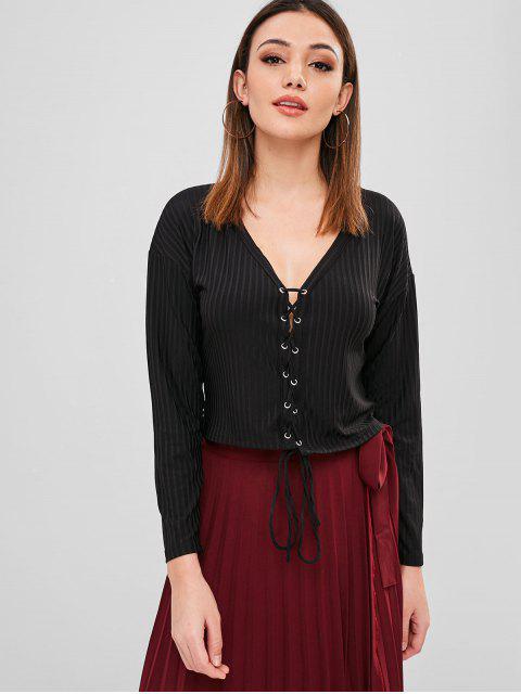 Camiseta de punto con cordones de plunge - Negro M Mobile