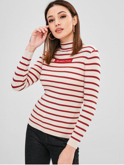 new Stripes Graphic Mock Neck Sweater - MULTI ONE SIZE Mobile