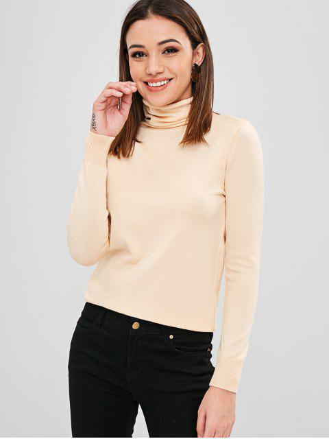 fashion Basic Turtleneck Knitwear - APRICOT ONE SIZE Mobile