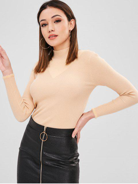 sale Fuzzy Ribbed Slim Sweater - LIGHT KHAKI ONE SIZE Mobile