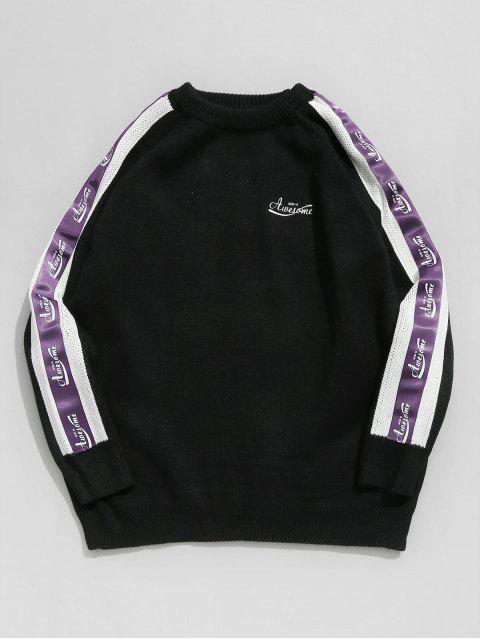 best Sleeve Letter Stripe Patchwork Knit Sweater - BLACK M Mobile