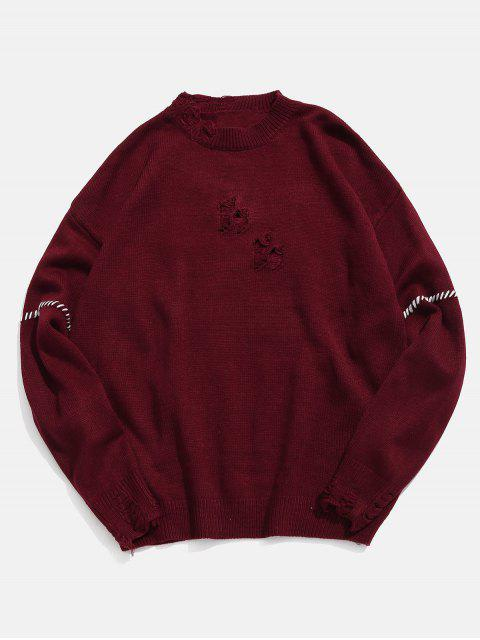 hot Contrast Braided Cable Detail Ripped Knit Sweater - RED WINE XL Mobile