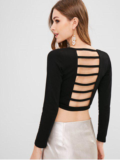 shop Ladder Cut Out Back Crop Tee - BLACK ONE SIZE Mobile