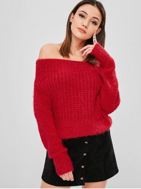 fashion Chunky Off Shoulder Sweater - LAVA RED ONE SIZE Mobile