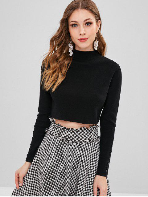 fancy Mock Neck Button Embellished Crop Sweater - BLACK ONE SIZE Mobile