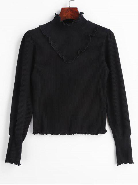 womens Lettuce Ruffles Ribbed Knitwear - BLACK S Mobile
