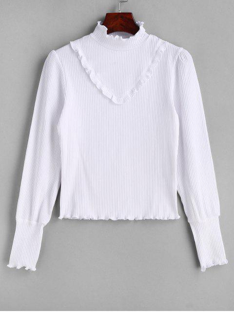 ladies Lettuce Ruffles Ribbed Knitwear - WHITE S Mobile