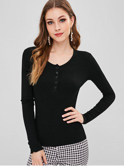 lady Half Button Fitted T-shirt - BLACK M Mobile