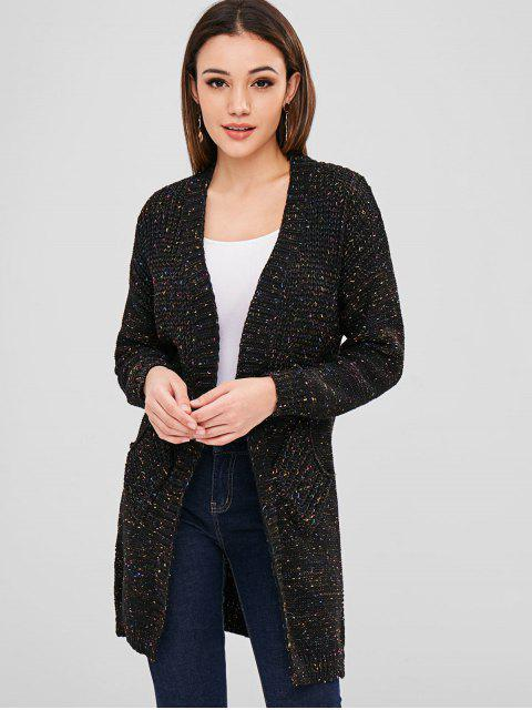 shops Open Front Heathered Cardigan - BLACK ONE SIZE Mobile