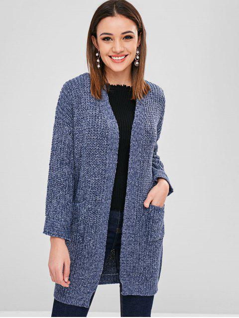 trendy Heathered Chunky Cardigan - DARK SLATE BLUE ONE SIZE Mobile