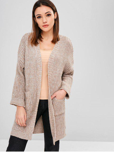 fancy Pocket Drop Shoulder Longline Cardigan - TAN ONE SIZE Mobile