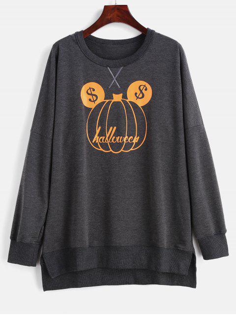 women's Pumpkin Front Helloween Tunic Sweatshirt - CARBON GRAY XL Mobile