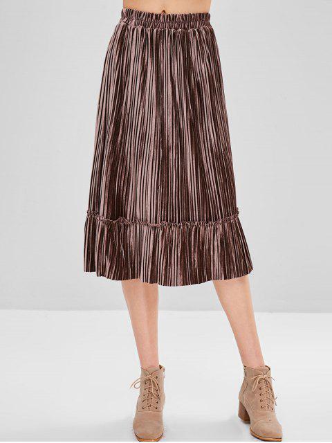 new Frilled Velvet Pleated Skirt - COFFEE ONE SIZE Mobile
