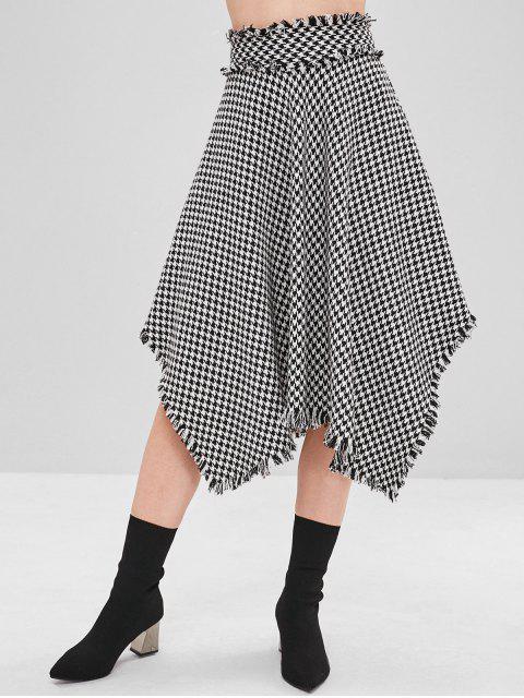 shops Houndstooth Frayed Asymmetrical Skirt - BLACK S Mobile