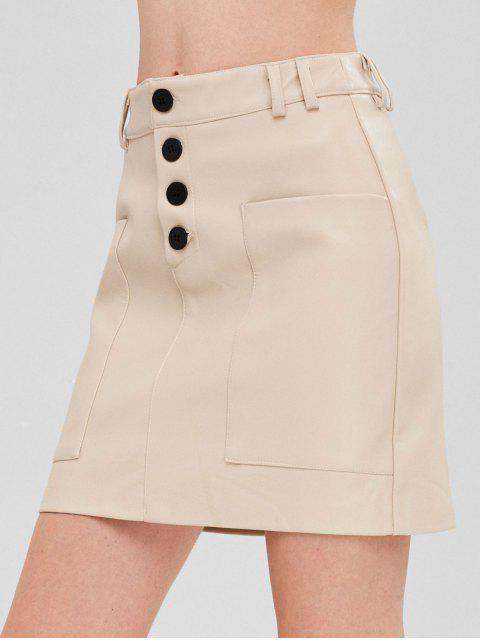 latest Faux Leather Button Fly Pocket Skirt - CRYSTAL CREAM L Mobile