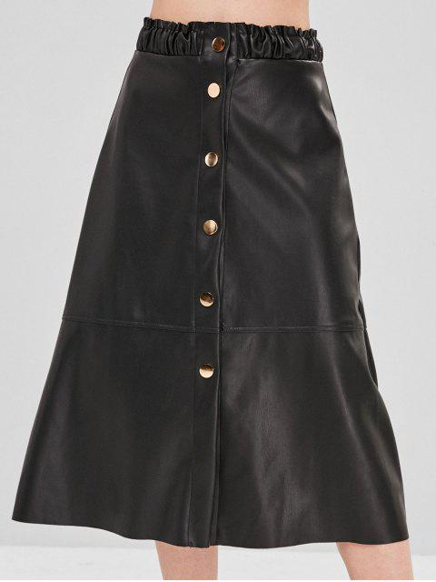fancy PU Ruffle Snap Button Midi Skirt - BLACK L Mobile
