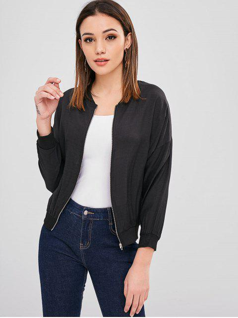 women Zip Up Jacket with Drop Shoulder - BLACK ONE SIZE Mobile