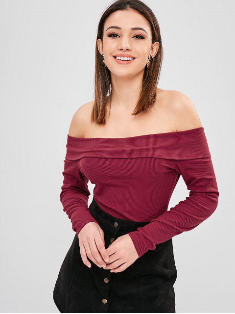 affordable ZAFUL Overlay Ribbed Off Shoulder Bodysuit - RED WINE M Mobile