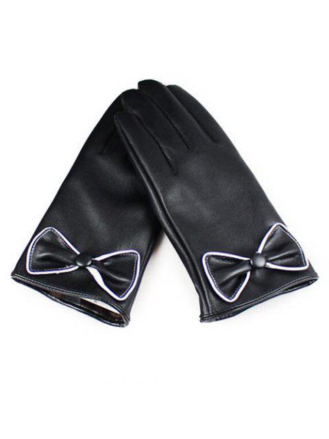 best Winter Bowknot Full Finger Touchscreen Gloves - BLACK  Mobile