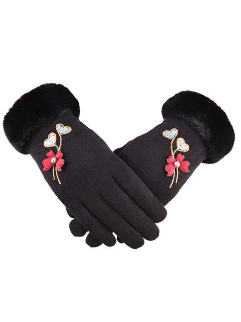 sale Winter Rhinestone Floral Full Finger Gloves - BLACK  Mobile