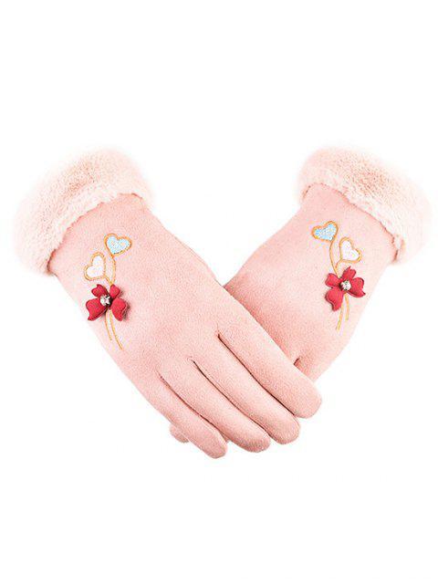 latest Winter Rhinestone Floral Full Finger Gloves - PINK  Mobile
