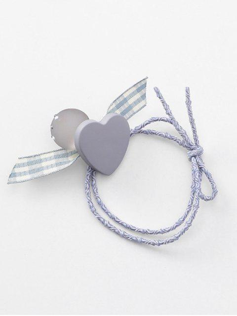 chic Heart Plaid Pattern Bowknot Hair Tie - GRAY  Mobile