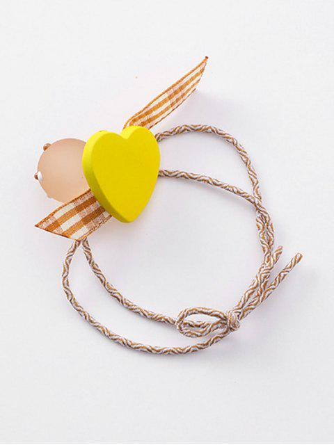 sale Heart Plaid Pattern Bowknot Hair Tie - YELLOW  Mobile