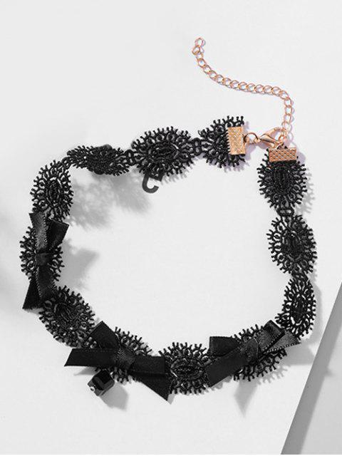 trendy Lace Bowknot Design Clavicle necklace - BLACK  Mobile